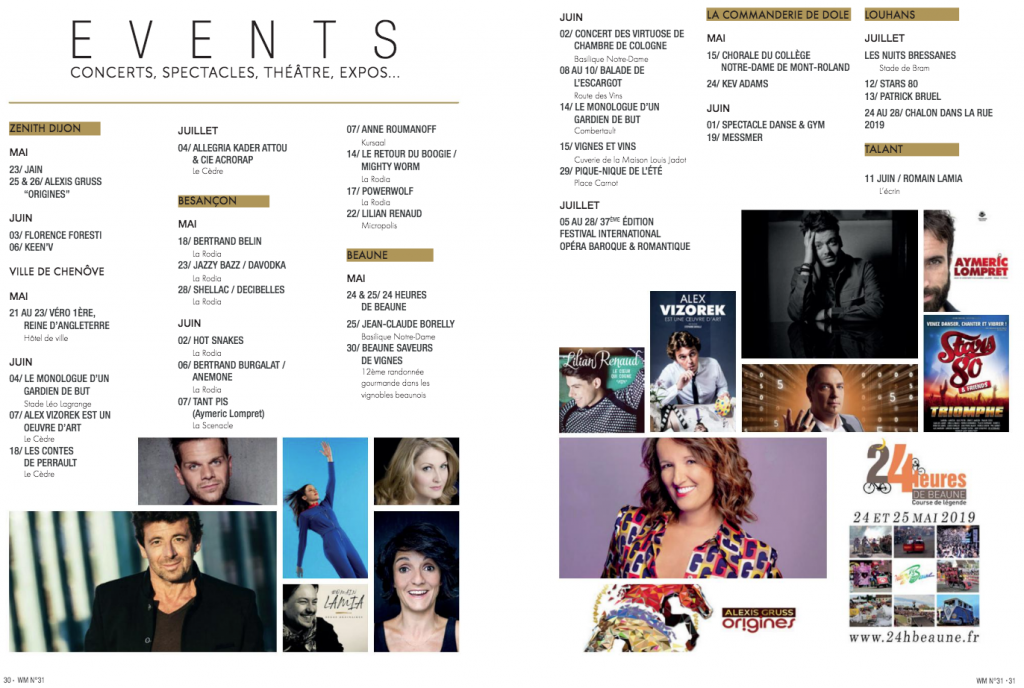 "Agenda du ""Welcome Magazine"""