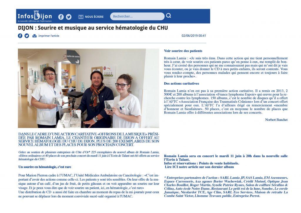 Romain Lamia: Sourire et Musique au service Hématologie du CHU