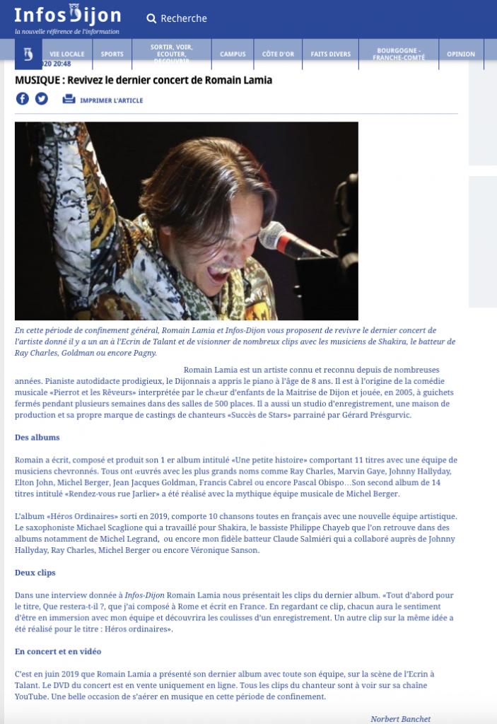 """"""" Revivez le dernier concert de Romain LAMIA"""""""